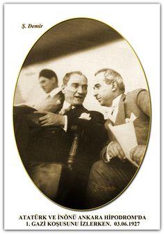 ATATÜRK VE İNÖNÜ ANKARA HİPODROM'DA 1. GAZİ KOŞUSUNU İZLERKEN. 03.06.1927