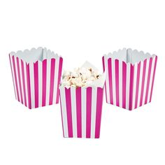 Hot pink striped popcorn boxes