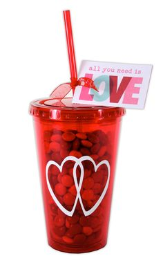 Valentine Tumblers - We created this cute Valentine gift in just minutes: using our red tumbler, some vinyl, a tag and M's!