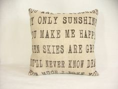 You are my Sunshine Pillow by cayteelynn on Etsy, $14.95