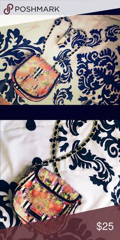 U N I Q U E Cross body purse!! Different fruit!! It was my favorite piece so it does show sign of wear!! Betsey Johnson Bags Shoulder Bags