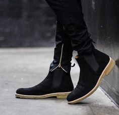f68fcabaec27 Handcrafted men s black Suede Chelsea boot Men suede ankle boot with crepe  Sole