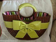 NEW ISABELLA FIORE DARLING WICKER BASKET BUCKET PURSE w/LIME LEATHER BOW & TRIM!