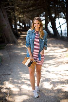7.14 red, white & blue (Aritzia denim shirt + Aritzia striped 'miller' dress in burgundy twist + Converse sneakers + Clare V clutch)