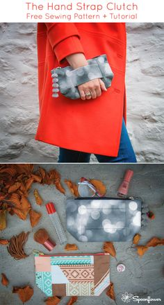 Hand Strap Clutch Tutorial with Free Sewing Pattern Purse Patterns, Sewing Patterns Free, Free Sewing, Free Pattern, Elephant Quilt, Clutch Tutorial, Easy Handmade Gifts, How To Make Purses, Diy Purse