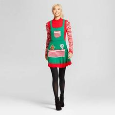 0fa6515c805 Women s Holiday Sweater Pinafores Christmas Sweater Dress
