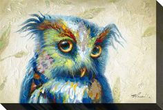 """Eyes on You"" Whimsical Owl Print on Canvas x – The Phoenix Collection Feather Art, Bird Feathers, Owl Canvas, Canvas Prints, Streamline Art, Whimsical Owl, Owl Print, Colorful Birds, Illustrations"