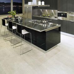 You should consider stainless steel kitchen countertops. Stainless steel kitchen countertops gives a modern elegant look to your kitchen. Contemporary Kitchen Design, Interior Design Kitchen, Kitchen Designs, Kitchen Ideas, Kitchen Inspiration, Modern Design, Kitchen Pictures, Interior Modern, Modern Luxury
