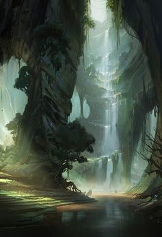 justin oaksford--I like how the piece almost seems to be laters the further back you go, to give perspective maybe. I also love the idea of a waterfall, one just like that they rule along the rocky coarse and path rather then falling straight down from a great hight.