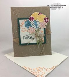 Stamps-N-Lingers.  I used the new Beautiful Bouquet stamp set and matching Bouquet Bunch Framelits to create this beautiful birthday card.  The Crumb Cake card is embossed with the new Layered Leaves Dynamic TIEF.  For free instructions on how to make this card, please visit my blog at: https://stampsnlingers.com/2017/06/07/stampin-up-beautiful-bouquet-birthday/
