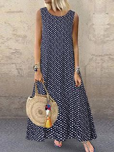 Fashion O-NEWE Casual Polka Dot Print Sleeveless Plus Size Dress with Pockets{ NewChic Mobile - Plus Size Casual Dresses - Ideas of Plus Size Casual Dresses Plus Size Maxi Dresses, Casual Dresses, Summer Dresses, Linen Dresses, Dresses Dresses, Dance Dresses, Short Dresses, Maxi Robes, Vestidos Vintage