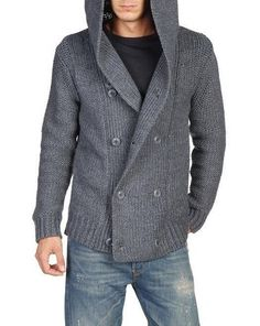 Knitting Cardigan Men Jumpers Ideas For 2019 Hooded Sweater, Knit Cardigan, Men Sweater, Zeina, Hand Knitted Sweaters, Mens Jumpers, Knitting Designs, Hand Knitting, Men Casual