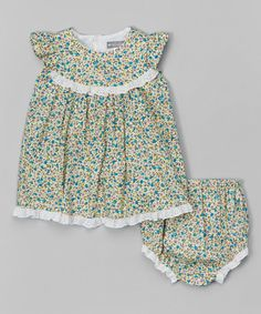 Look what I found on #zulily! Blue Floral Eyelet Dress & Diaper Cover - Infant #zulilyfinds