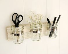 mason jar shabby chic wood wall organizer vintage white-- for bathroom behind sink??