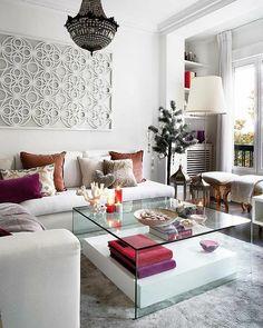 moderne treppe wohnzimmer design farbiger teppich | wohnen ... - Wanddekoration Wohnzimmer