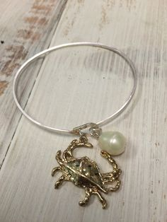 Goldtone Crab and Pearl Silvertone Bangle