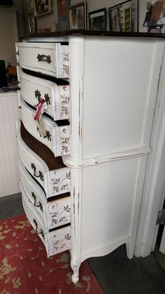 vintage painted dresser, french provincial with scrolls on sides of drawers #vintagefurniture #paintedfurniture #shabbychic #rustic #farmhouse #distressed #country