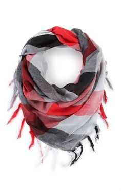 Deb Shops Plaid Infinity Scarf with Fringe