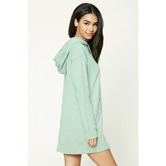 Forever21 Hooded Sweatshirt Dress ($23) ❤ liked on Polyvore featuring dresses, forever 21, green sleeve dress, forever 21 dresses, long sleeve sweatshirt dress and long-sleeve maxi dresses