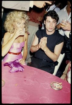 Olivia Newton John and John Travolta at the Grease premiere party, 1978
