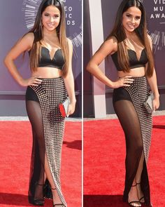 Becky G's VMAs Outfit: Shows Off Lots Of Skin In Sexy Slit & Sheer Black & Spike Ferre Skirt #VMA2014 #RedCarpet
