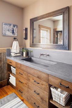 Refined Rustic Bathroom #RusticBathroomVanities Bad Inspiration, Bathroom Inspiration, Style At Home, Ideas Baños, Decor Ideas, Decorating Ideas, Theme Ideas, Wood Ideas, Craft Ideas