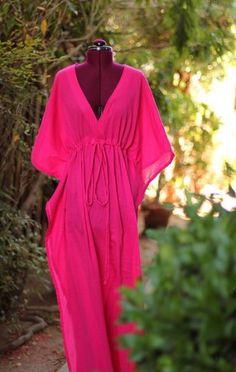Caftan Maxi Dress - Beach Cover Up - Kaftan - Muumuu - Fuchsia Bathing Suit Dress, Bathing Suit Covers, Swimwear Cover Ups, Swimsuit Cover, Diy Summer Clothes, Summer Outfits, Diy Clothes, Mode Kimono, Ethno Style