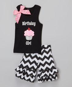 Black 'Birthday Girl' Tank & Shorts - Infant Toddler & Girls