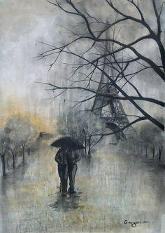Parisian Scape - Under The Umbrella - Original Watercolor - Eiffel Tower - Rainy Cityscape - Love Couple Painting - Contemporary Fine Art By on Etsy, $138.21 CAD