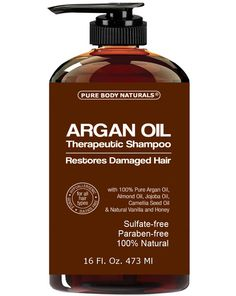 Argan Oil Shampoo Restores Damaged Hair - Argan Oil for Hair, Increases Shine and Deeply Nourishes - Safe for All Hair Types and Color Treated Hair - 16 oz Bottle with Pump