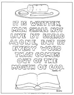 Coloring Pages For Kids By Mr Adron Man Shall Not Live Bread Alone Printable Page Matthew