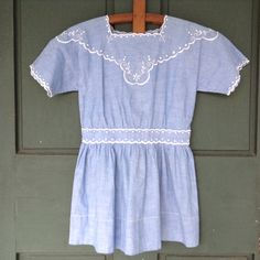 Antique Chambray Child's Dress with Embroidery by TimeWornThreads