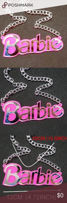 The 'Ultimate Barbie' HANDCRAFTED NECKLACE The ultimate accessory for any Barbie lover  This adorable, handmade, high quality 'Ultimate Barbie' Statement Necklace screams fun and fashion at the same time!!! Pair with your favorite jeans, t shirt and heels, or, pair with your favorite fiercest on the town attire for a totally Barbie look!!! Measurements listed in photo.  Silver chain, acrylic plate.  Handmade, Boutique quality! TOP 10% SELLER!!  TOP RATED SELLER!!! FAST SHIPPER!! BUY WITH…