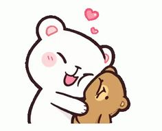 LINE Official Stickers - Milk & Mocha: Affection Example with GIF Animation Cute Couple Cartoon, Cute Cartoon Pictures, Cute Love Cartoons, Cartoon Pics, Cartoon Kiss Gif, Cartoon Drawings, Cute Hug, Cute Love Gif, Gif Mignon