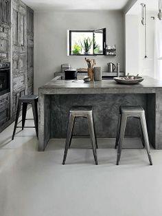 Concrete in the Kitchen Designer: Amelie Vigneron Photographer: Henri Del Olmo / Cote Sud Source: Elle Uk September 2013
