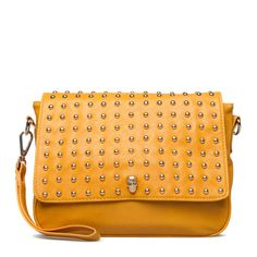 inlove with this yellow studded Kosse cross shoulder bag!