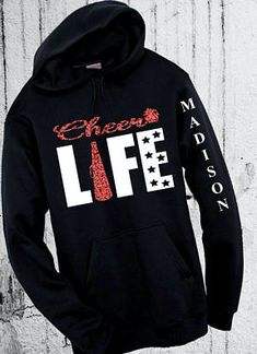 Cheer Life Sweatshirt. Mom Tank Tee Sweatshirt or Hoodie S M L XL Any Color Plain or Glitter Personalize Free with a name! Gift for cheerleading coach or cheerleader. #cheerleading #ad