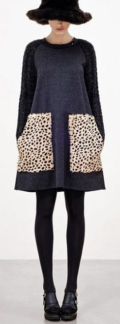 Hache F/W 2012. Quirky and clean lines. I'm not crazy about leopard print, but I'd love to photograph a model in this!