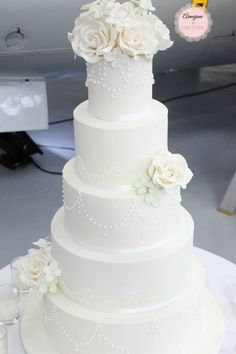 5 tier wedding cake with sugar roses, handpiping, edible lace and edible pearls - Aimeejane Cake Design