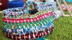 Multicolor tshirt yarn bag - half double spike with half double crochet in blo.