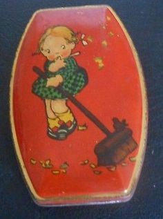 Young-Girl-with-Broom-Vintage-GEORGE-W-HORNER-Co-Candy-Tin-3-5-W-5-5-L-1-D