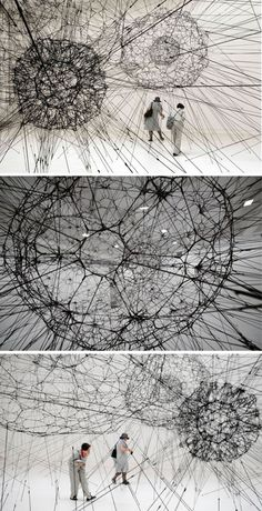 Soft Material Assemblies-Elastic bands knotted by Tomas Saraceno