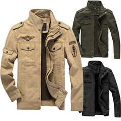 Men Combat Field Military Army Jacket Coat Winter Casual Cargo Outdoor Outwear - Ideas of Men Jacket Military Style Outfits, Military Fashion, Army Style, Trench Coat Men, Mens Winter Coat, Men's Coats And Jackets, Jacket Style, Jacket Men, Military Army