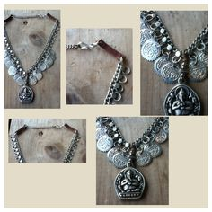 Necklace I created using upcycled metals, leather and metal charms