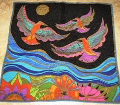 Vintage Laurel Burch Square Scarf Phoenix Birds Art by sherryi, $19.99