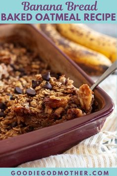 55 minutes · Vegetarian Gluten free · Serves 8 · All the flavors of banana bread in this fiber and healthy-fat rich baked oatmeal recipe! This is an easy breakfast recipe that reheats well. #breakfastideas #bananabread #bakedoatmeal Baked Oatmeal Recipes, Banana Recipes, Baked Oats, Delicious Breakfast Recipes, Vegan Recipes Easy, Amazing Recipes, Kitchen Recipes, Cooking Recipes, Lunch Box Recipes