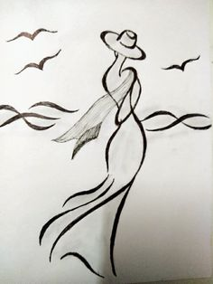 My pencil sketch. Disney Drawings Sketches, Girl Drawing Sketches, Girly Drawings, Art Drawings Sketches Simple, Pencil Art Drawings, Cool Drawings, Abstract Sketches, Silhouette Art, Painting & Drawing