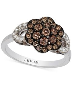 A glamorous arrangement of sparkle and shine. This blossoming ring from Le Vian flaunts round-cut white (1/8 ct. t.w.) and chocolate (9/10 ct. t.w.) diamonds in 14k white gold. | Photo may have been e