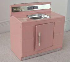 Vintage Pink Nassau Doll Play Sink Tin Toy
