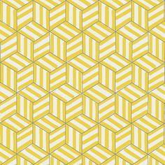 Schumacher - TUMBLING BLOCKS - Miles Redd wallpaper Citron yellow #drdwallpaper